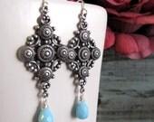 Dangle Silver Earrings, Cross Earrings, Light Blue Teardrop, Vintage Inspired - MESSIAH