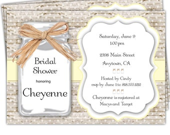 10 Mason Jar Shower Invitations/Bridal Shower Invitations/Bride to be Shower Invitations/Couples Shower Invitations