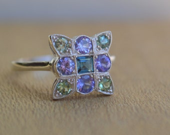 Antique Style 9 Stone Ring in 14 K White Gold with Tourmaline and Tanzanite