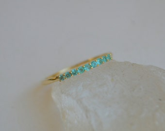 14K Yellow Gold 9 Stone Prong Ring with Paraibas from Brazil