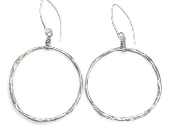 Rustic Silver Hoops - River Canyon Earrings - Large Silver Hoop Earrings