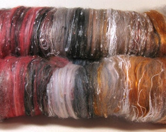 Red Quartz Wild Card Art Batt for spinning and felting (3.9 ounces)