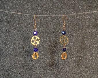 Steampunk Gear dangle earrings with cobalt glass beads