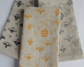 Cloth Napkins, Hand Printed Honey Bees, Choose Your Color, Set of 4 Natural Linen / Cotton Blend