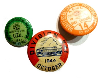 Three Vintage Tin Litho Union Pins. AA Street Electric Railway Workers; Paperhangers; Upholsterer's Union. 1940s.