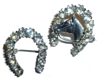 """Sterling Silver Horseshoe & Horse Scatter Pin Set. Rhinestone Bling. Pair of 1"""" Wide Brooches. Winner's Circle."""