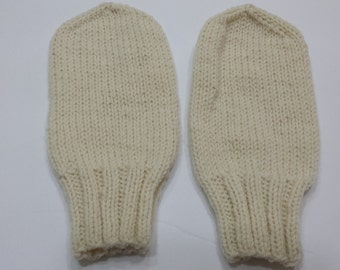 Handmade Knit Special Needs Thumbless Mittens LARGE