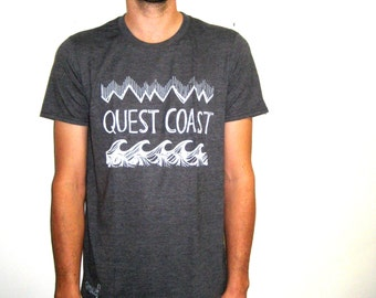 QUEST COAST Print Tee. Mens Dark Grey Tee. West Coast Best Coast. ScreenPrinted Tshirt. Grey Graphic Tshirt. Waves Surf Top. Travel Gifts.