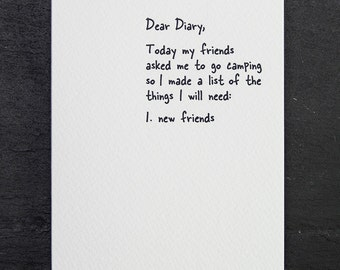 new friends. letterpress card. #859