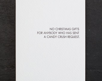 holiday: candy crush. letterpress card. green envelope. graeber. #709