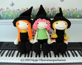 ENGLISH Instructions ONLY - Instant Download PDF Crochet Pattern - 3 Witches for Halloween