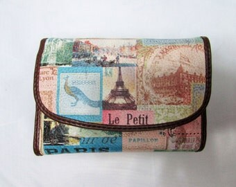 Vintage Relic Multi Color Paris Themed Effiel Tower Gare de Lyon Women's Wallet - Relic Currency Wallet - Relic Change Purse - Relic Wallet
