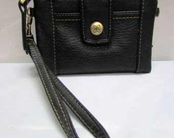 Vintage NOS Relic Black Soft Pebbled Faux Leather Wallet Clutch Purse - currency ids credit cards change compartments