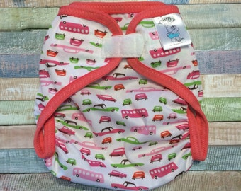 Ready to ship, Large Pink Retro Cars Polyester PUL Waterproof Cloth Diaper Cover with Aplix hook and loop