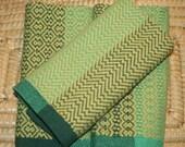 All Cotton Handwoven Towel - Handwoven Hand Towel in Green - Green Handwoven Kitchen Towel