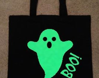 Halloween bag, trick-or-treat bag, glow in the dark bag, candy tote, ghost bag, jack-o-lantern reusable
