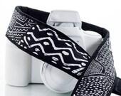 Camera Strap,  Black and White Tribal, dSLR, SLR, Geometric, Pocket, Canon, Nikon, Photography Gift, 174 www
