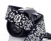 dSLR Camera Strap, SLR, Mirrorless, Black & White Floral Damask, Camera Neck Strap, Pocket, Canon or Nikon Strap, Photography, 21 a