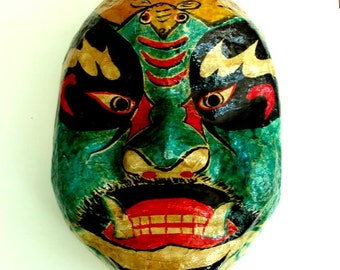 "large VINTAGE MASK CHINA, papier mache,10 5/8"" high,opera, bat,fangs,red,turquoise,black,beige,mustard,yellow"
