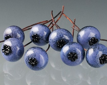 Blueberry Bead, 1 ripe glass blueberry bead on copper wire stem. Realistic life-sized glass lampwork bead for making exceptional jewelry.