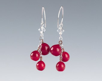 Red Berry Earrings / Holly Berry/ Pepper Berry and Ice Earrings w realistic glass lampwork beads and crystals on sterling silver