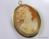 Portrait Cameo 14K Gold Genuine Shell Brooch and Pendant