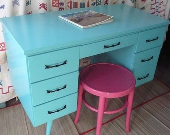 DESK Vintage MID Century Maple Desk Poppy Cottage Painted Furniture Custom PAINT to Order Farmhouse Cottage