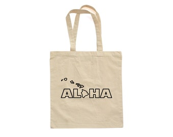 Apericots Aloha Hawaii Hawaiian Cute Fun Natural Eco Friendly Canvas Cotton Tote Bag