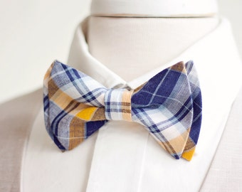 The Beau- men's organic madras navy and yellow plaid double stacked pre-tied bow tie // groomsmen bow ties // custom neckties