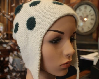 Alpaca Ear Flap Cap - Beautiful in Ivory and Dark Green