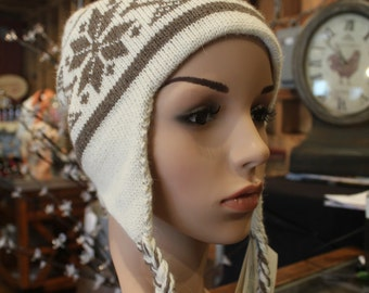 Alpaca Ear Flap Cap - Beautiful in Ivory and light brown