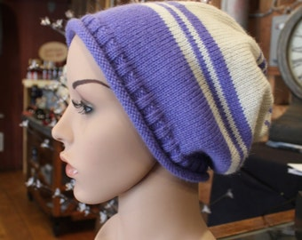 Alpaca Slouch Cap - Beautiful in Lavender and Cream