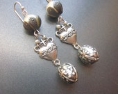 Assemblage Dangle Earrings Pearls Handmade One of a Kind Ex Voto