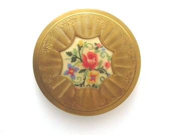 Vintage Compact Mirror Floral Embroidery Made in England Beauty Collectible