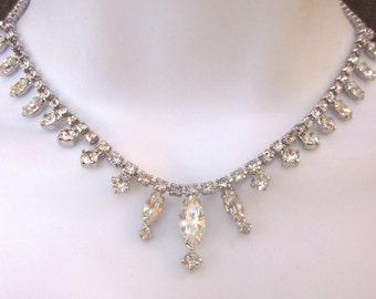 Kramer Vintage Rhinestone Necklace Bridal Jewelry