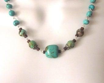 Natural Turquoise Necklace Genuine Turquoise Stone Jewelry Southwest Style