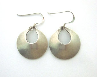 Sterling Silver Vintage Hoop Earrings Open Circle Earrings Sterling Jewelry