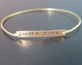 Name Bangle Bracelet, Gold Name Bracelet, Thin Gold Bracelet, Thin Gold Bangle, Custom Bracelet, Personalized, Custom Hand Stamped Bracelet