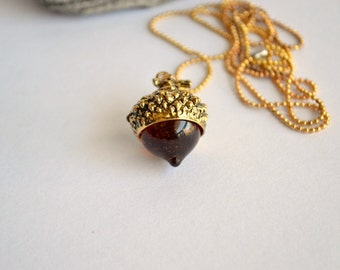 Brass and amber acorn necklace, long acorn pendant, acorn jewelry, woodland jewelry