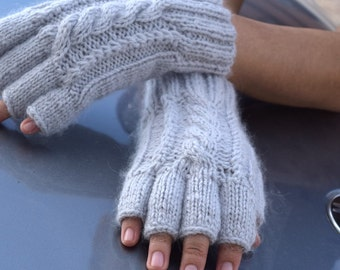 Knit fingerless gloves wool angora pearl grey winter holidays Christmas gift for her