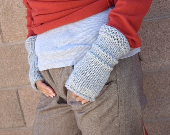 Chunky knit arm warmers light gray womens gloves gift for her Christmas