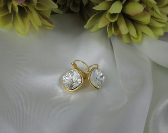Earrings Set In Gold With Crystal Clear Swarvorski