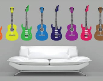 Colorful Guitars Removable Wall Decals (Set of 8)