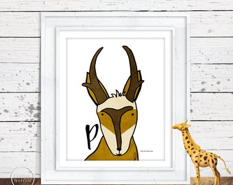 Antelope Pronghorn Illustration Children's Alphabet Printable - Letter P