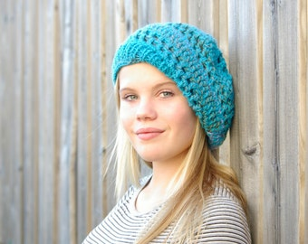 Beautiful Turquoise Slouchy Hat, Beanie Hat, Winter Hat, Stocking Stuffer, Winter Wear Crochet/Knit, Handmade