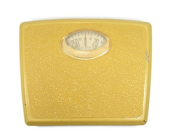 Vintage Bathroom Scale Golden Yellow Weight Scale