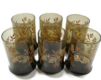 Libbey Brown Drinking Glasses with Leaf Design ... Set of 6