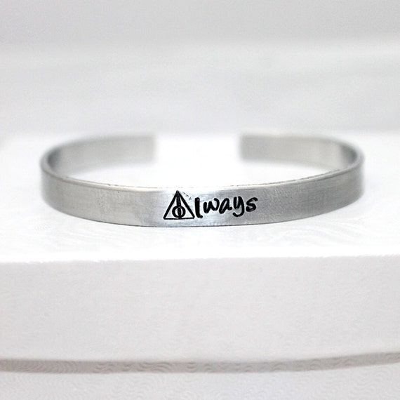 Always Bracelet, Always Jewelry,  Aluminum Bracelet, Hand Stamped, Potter Fan, Romantic Bracelet,