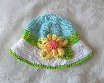 Baby Hats Knitting Knit Baby Hat Knitted Baby Hats Baby Hat with Yellow Flower Cotton Knitted Baby Hat Knitted Brimmed Baby Hat