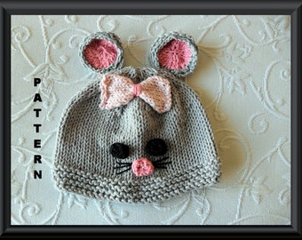 Knitted Hat Pattern Baby Hat Pattern Instant Download Baby Hat Pattern Infant Hat Pattern Mouse Hat Pattern Halloween Baby Hat: MOUSE